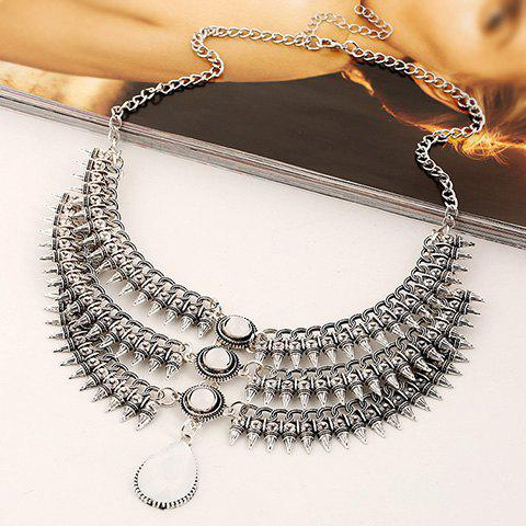 Gorgeous Fake Gem Multilayer Cone Necklace For Women - WHITE