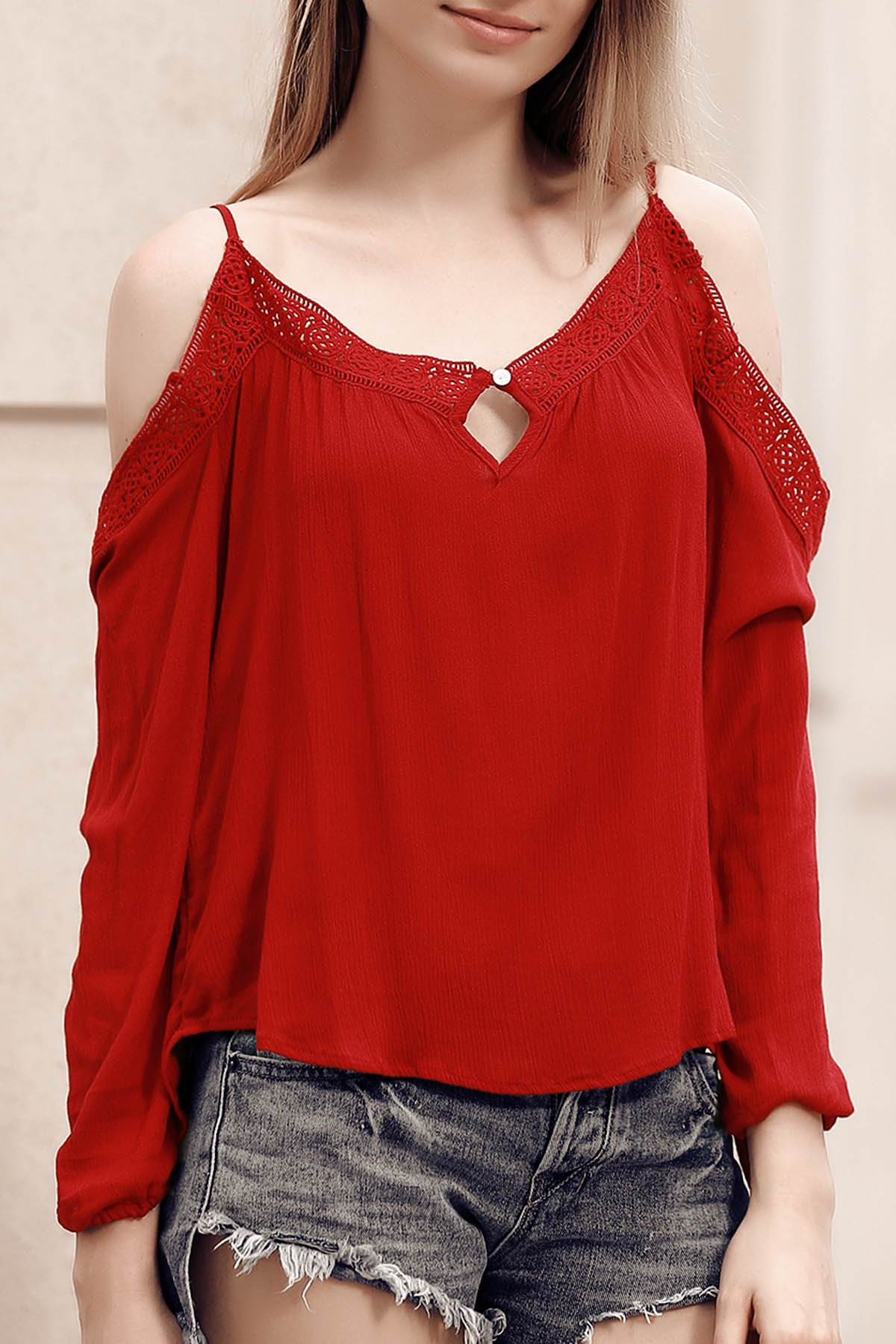 Chic Spaghetti Strap Hollow Out Lace Spliced Women's Blouse - RED S