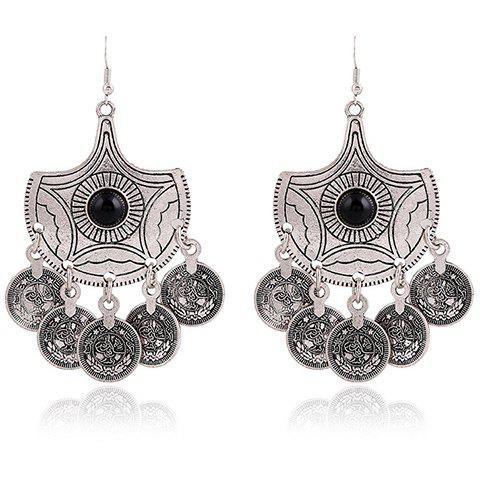 Pair of Coins Pendant Alloy Earrings - BLACK