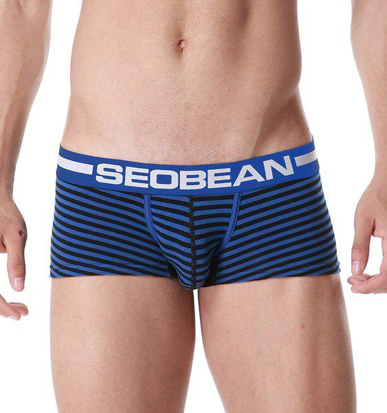 U Pouch Design Letter Print Stripe Men's Boxer Brief - DEEP BLUE M