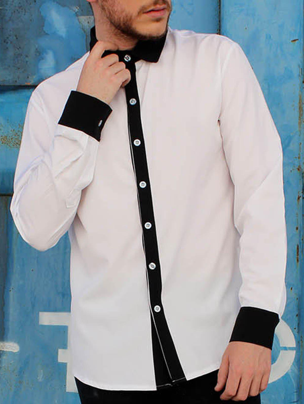 Shirt Collar Color Block Button Fly Slimming Men's Long Sleeves Shirt - M WHITE