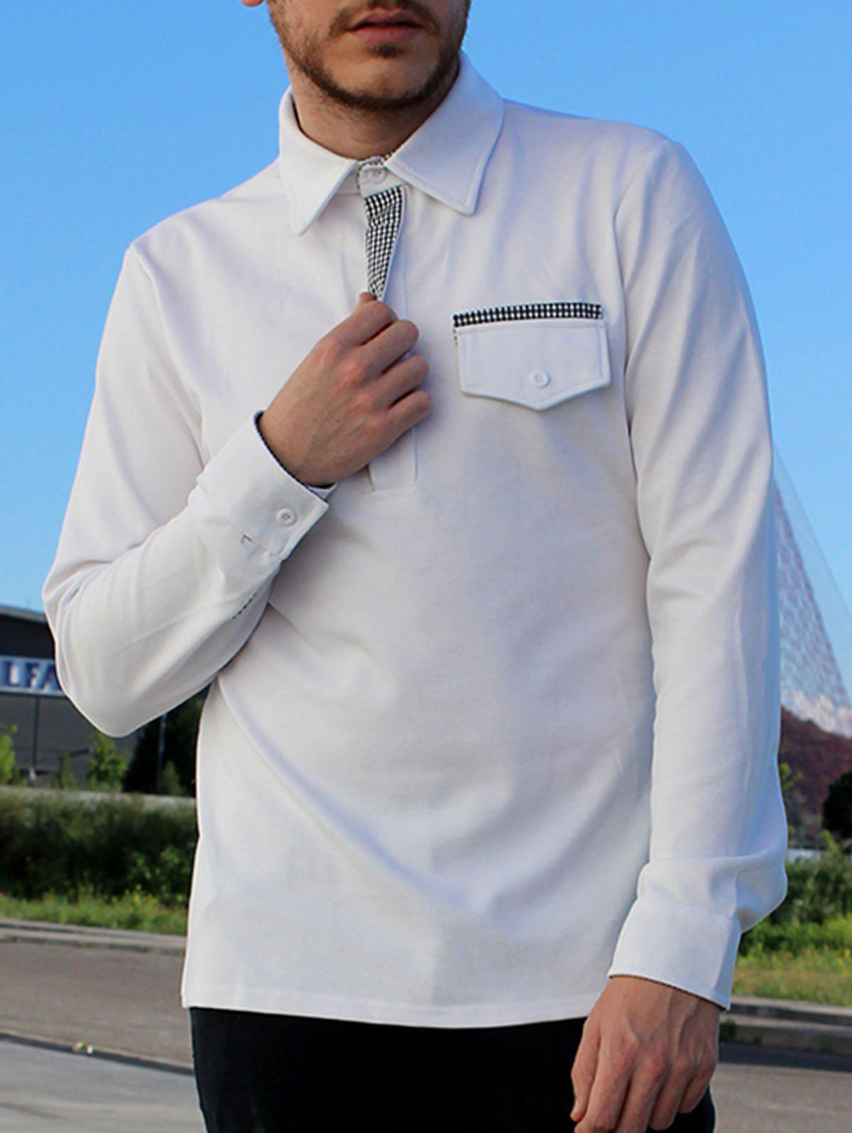 Button Embellished Pocket Turn-Down Collar Long Sleeve Men's Polo T-Shirt - 2XL WHITE