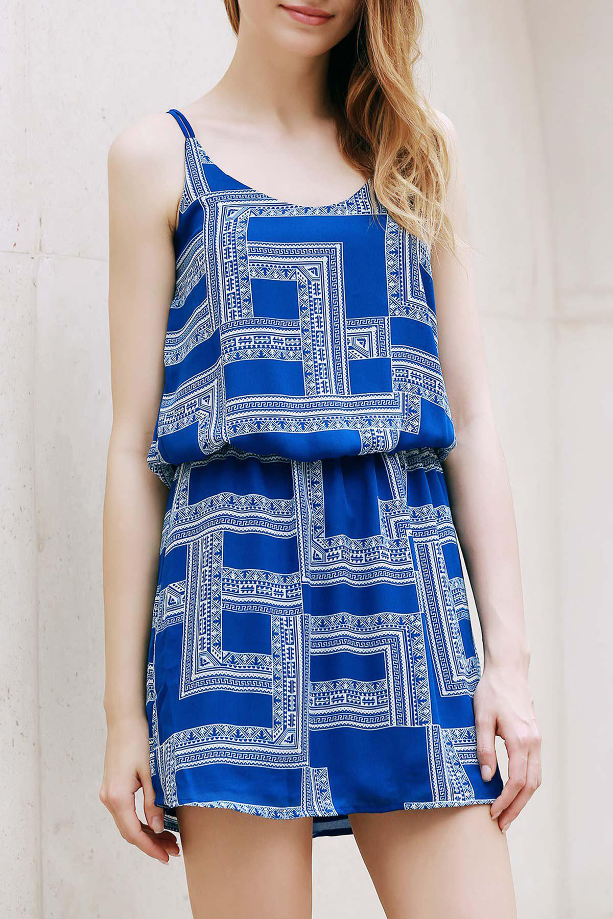 Trendy Spaghetti Strap Chiffon Geometric Print Women's Dress - SAPPHIRE BLUE S