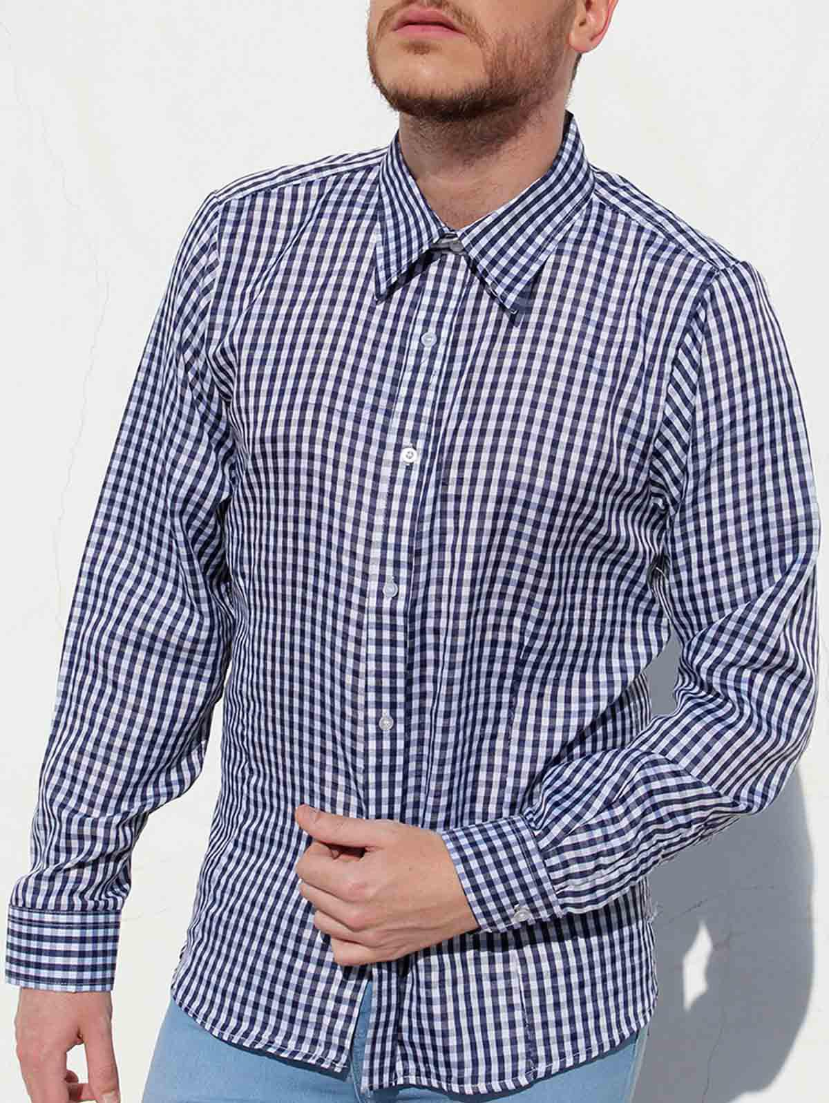Casual Slimming Turn-Down Collar Pliad Print Long Sleeve Men's Shirt - CADETBLUE 2XL