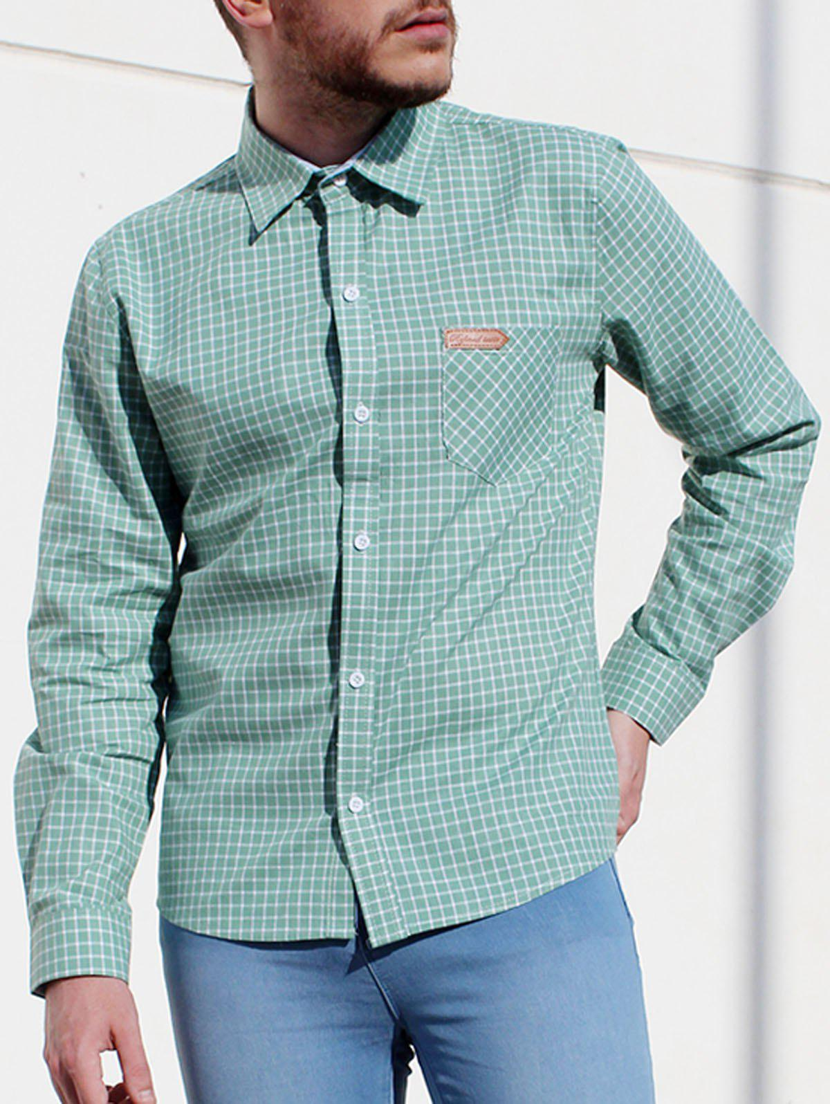 Turn-Down Collar Long Sleeve Slimming Checked Leather Tag Men's Shirt