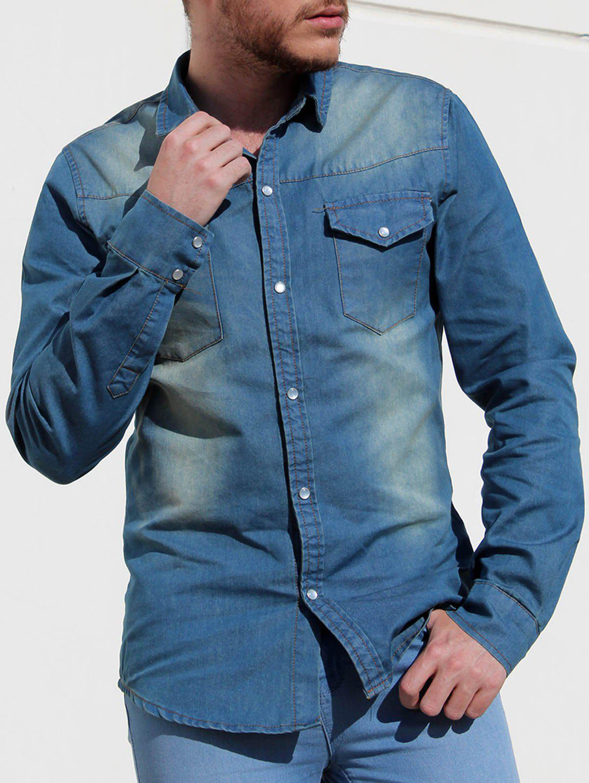 Modish Simple Turn-Down Collar Patch Pocket Long Sleeve Men's Denim Shirt - DEEP BLUE M