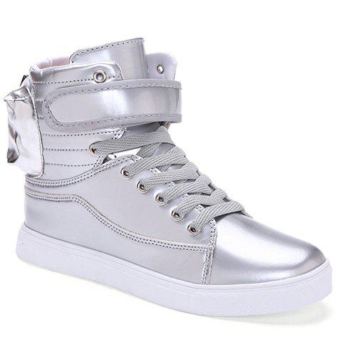 Fashionable Tie Up and Solid Color Design Men's Casual Shoes - SILVER 40