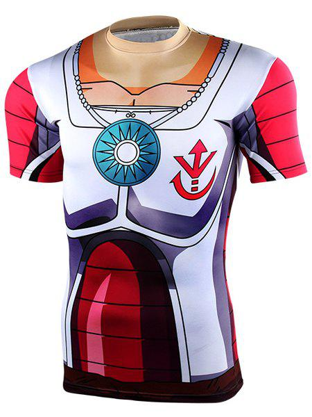Dragon Ball Z Battleframe Pattern Round Neck Short Sleeves Men's Tight T-Shirt - COLORMIX M