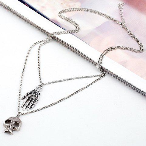Multilayer Palm Skull Pendant Necklace - SILVER