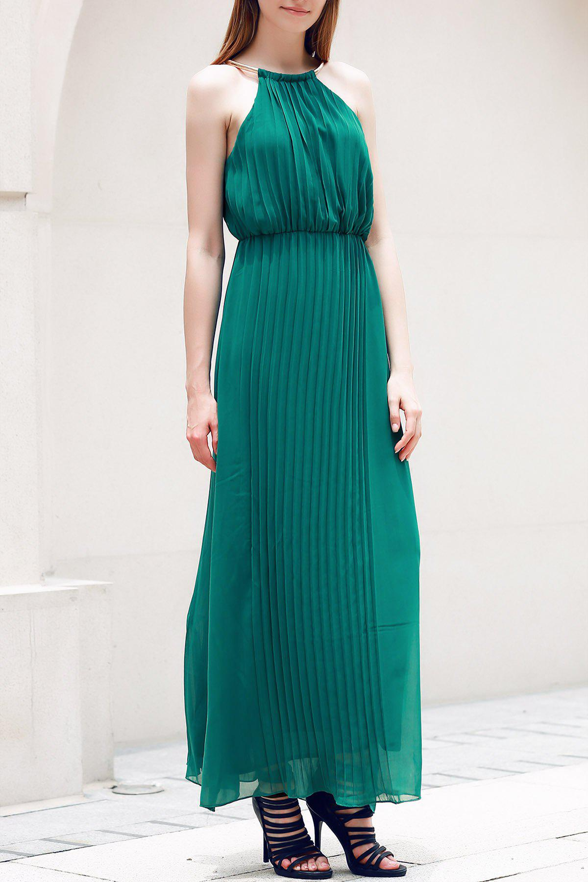 Fashionable Sleeveless Solid Color Pleated Women's Dress