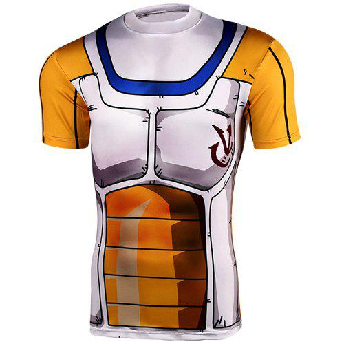 Fashionable Round Neck Short Sleeves Men's Dragon Ball Tight T-Shirt - COLORMIX XL
