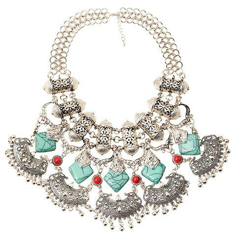 Faux Turquoise Carving Flower Bead Necklace - SILVER