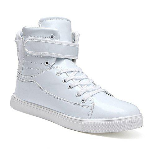 Fashionable Tie Up and Solid Color Design Mens Casual ShoesShoes<br><br><br>Size: 42<br>Color: WHITE