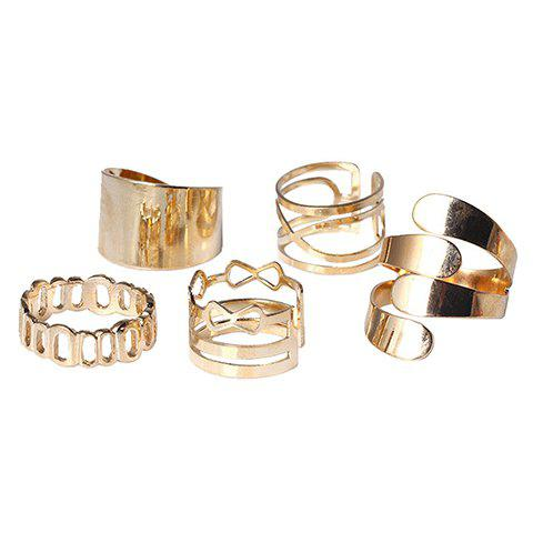 A Suit of Hollow Out Infinite Rings - GOLDEN ONE-SIZE