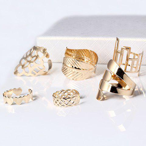 A Suit of Chic Geometric Leaf Cuff Rings For Women