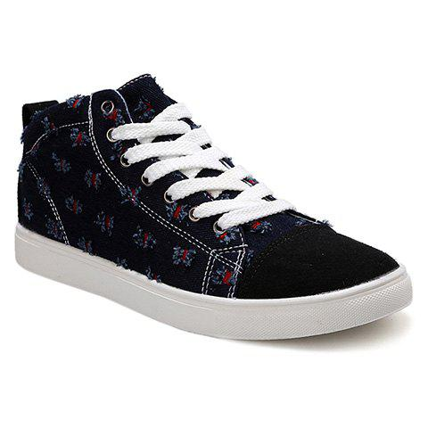 Fashionable Colour Block and Splicing Design Men's Canvas Shoes - BLACK 40