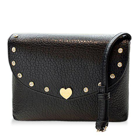 Fashion Solid Color and Metal Design Women's Crossbody Bag - BLACK