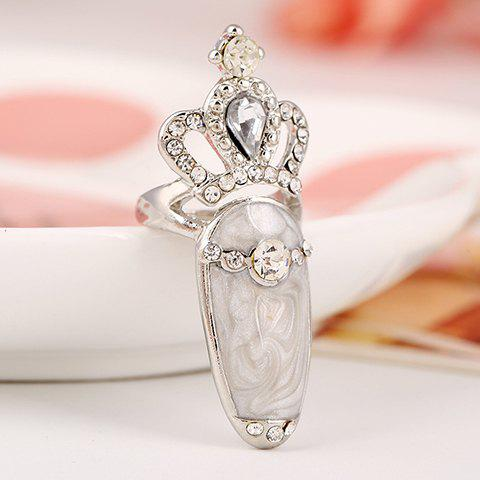 Rhinestone Crown Hollowed Ring - WHITE ONE-SIZE