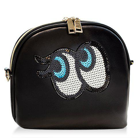Fashion Stitching and Eye Pattern Design Women's Crossbody Bag - BLACK