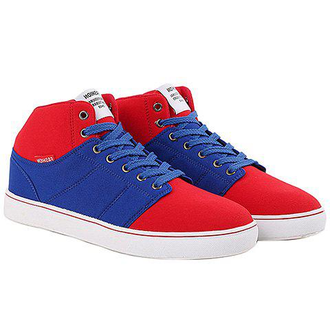 Fashionable Color Matching and Suede Design Men's Casual Shoes - BLUE/RED 43