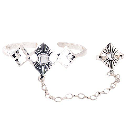 Alloy Geometric Bracelet With Ring - SILVER