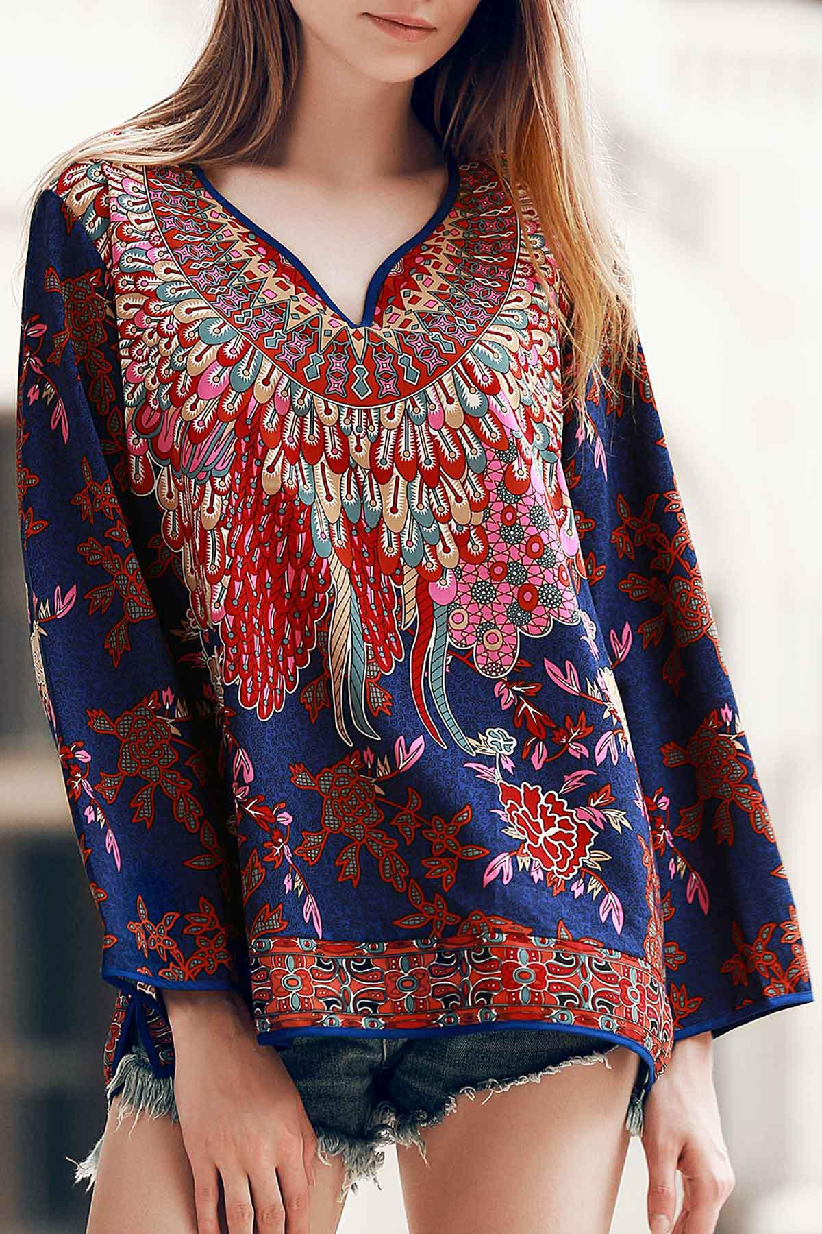 Vintage 3/4 Sleeve Colorful Floral Pattern Women's T-Shirt - COLORMIX M