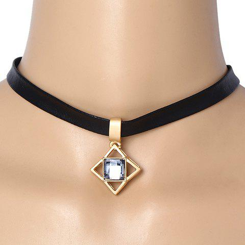 Rhinestone Square Choker Necklace - BLACK