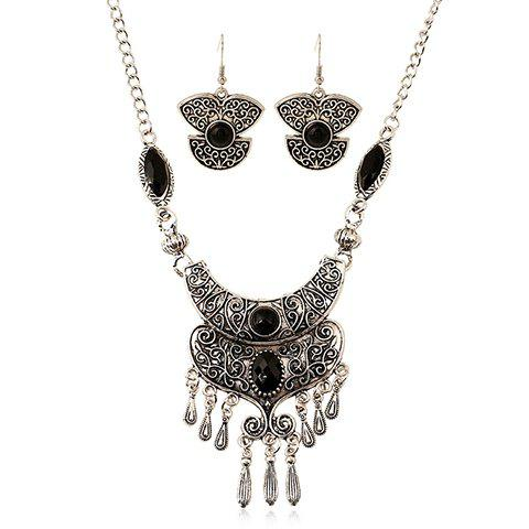 A Suit of Faux Gem Embossed Teardrop Necklace and Earrings - SILVER