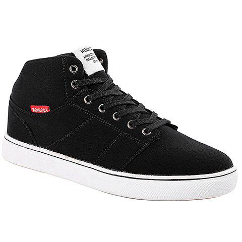 Trendy Suede and Black Color Design Men's Casual Shoes - BLACK 41