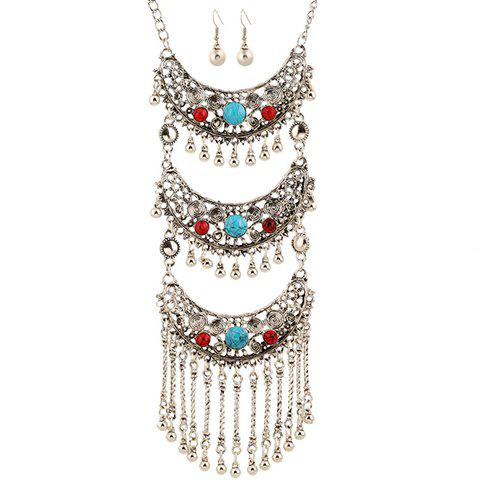 Dresslily FR A Suit of Gorgeous Faux Gem Multilayer Bead Tassel Necklace and Earrings For Women