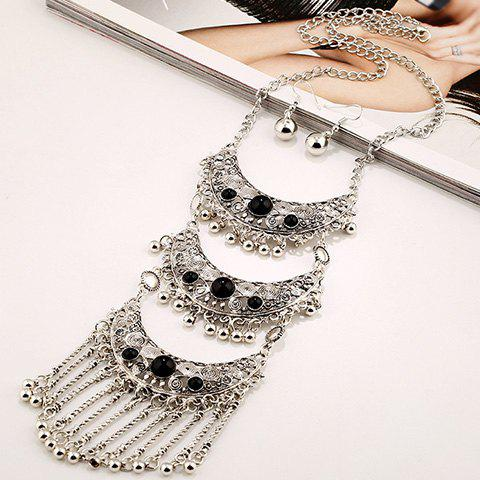 A Suit of Faux Gem Multilayer Bead Tassel Necklace and Earrings - SILVER/BLACK