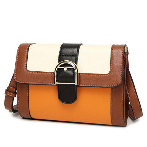 Vintage Color Block and Buckle Design Women's Crossbody Bag - BROWN