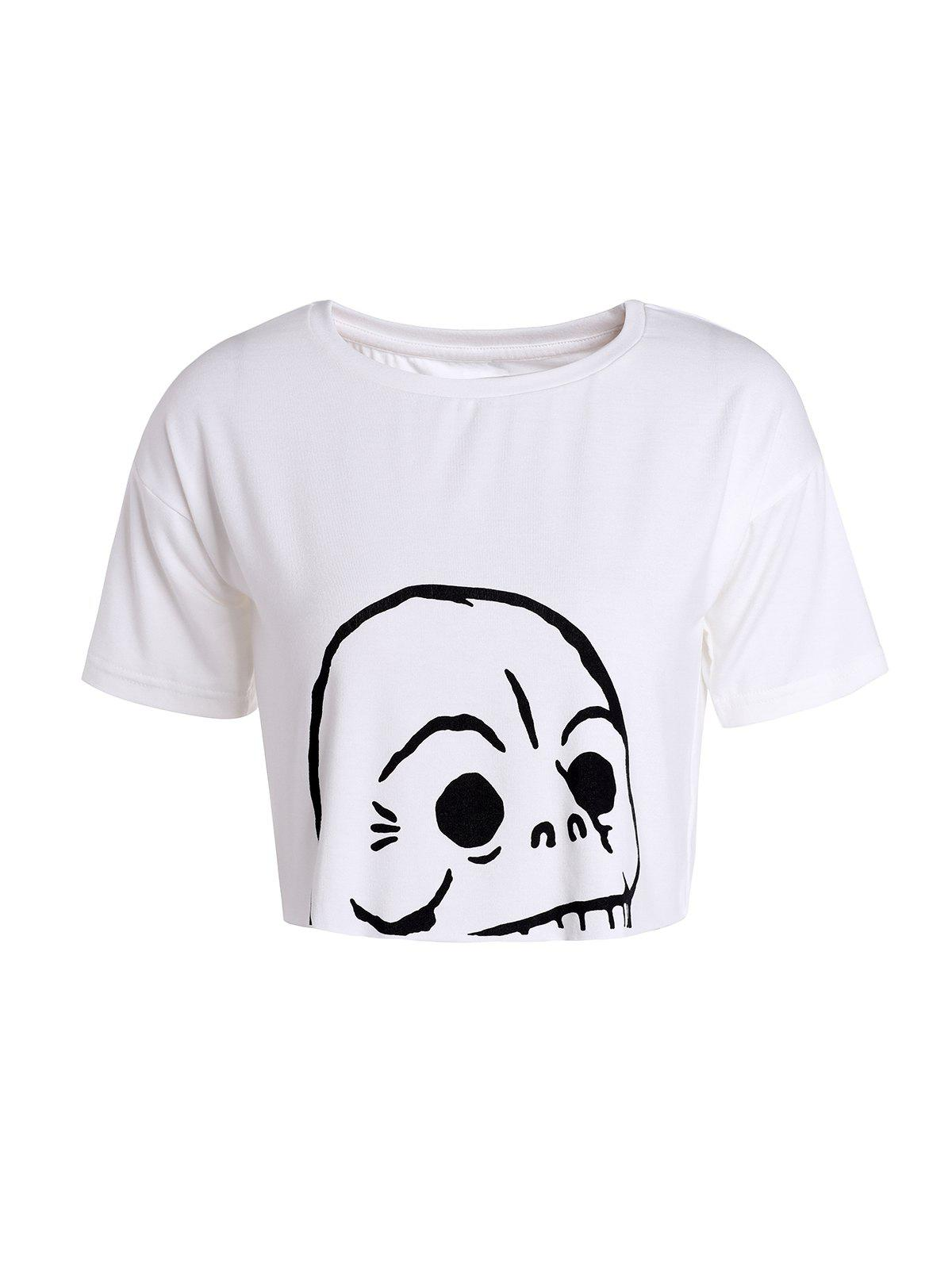 Skull Print Cropped Top - WHITE S