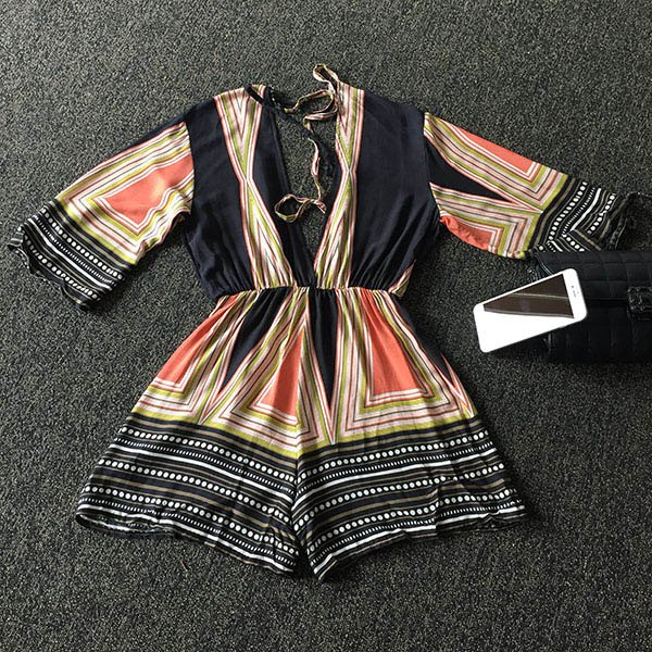 Trendy 3/4 Sleeve Plunging Neck Backless Multicolor Striped Women's Romper - COLORFUL S