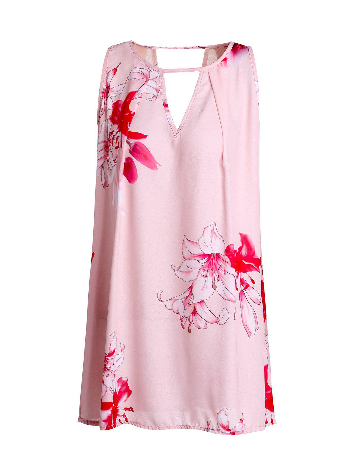 Sweet Sleeveless Floral Print Cut Out Dress For Women - SHALLOW PINK M