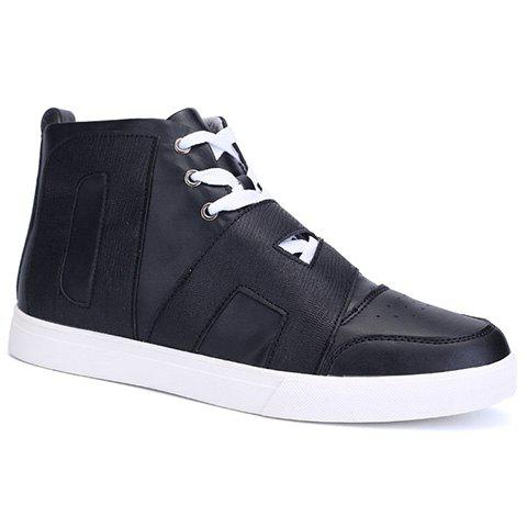 Trendy Zipper and Lace-Up Design Men's Casual Shoes - BLACK 42
