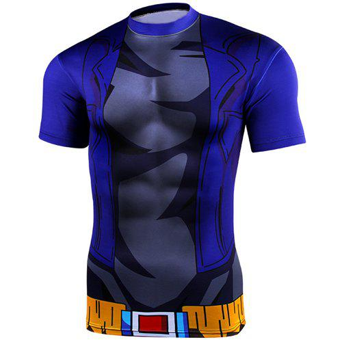 Vogue Round Neck Dragon Ball Battleframe Pattern Short Sleeves Men's Cool T-Shirt - COLORMIX S