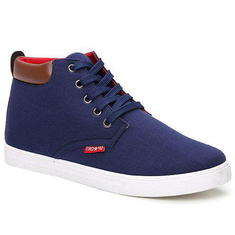 Fashionable Lace-Up and Colour Block Design Men's Canvas Shoes - BLUE 40