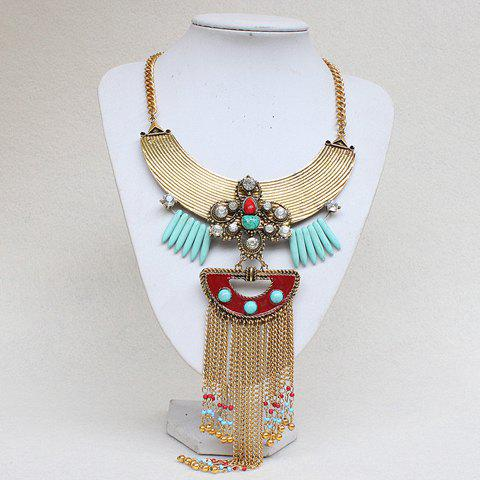 Gorgeous Faux Turquoise Rhinestone Bead Tassel Necklace For Women