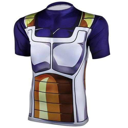 Trendy Round Neck Short Sleeves Dragon Ball Tight Men's Cool T-Shirt - S COLORMIX