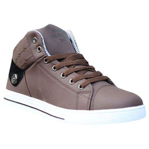 Stylish Color Matching and Lace-Up Design Men's Casual Shoes - BROWN 39
