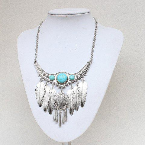 Faux Turquoise Carving Leaf Necklace - SILVER