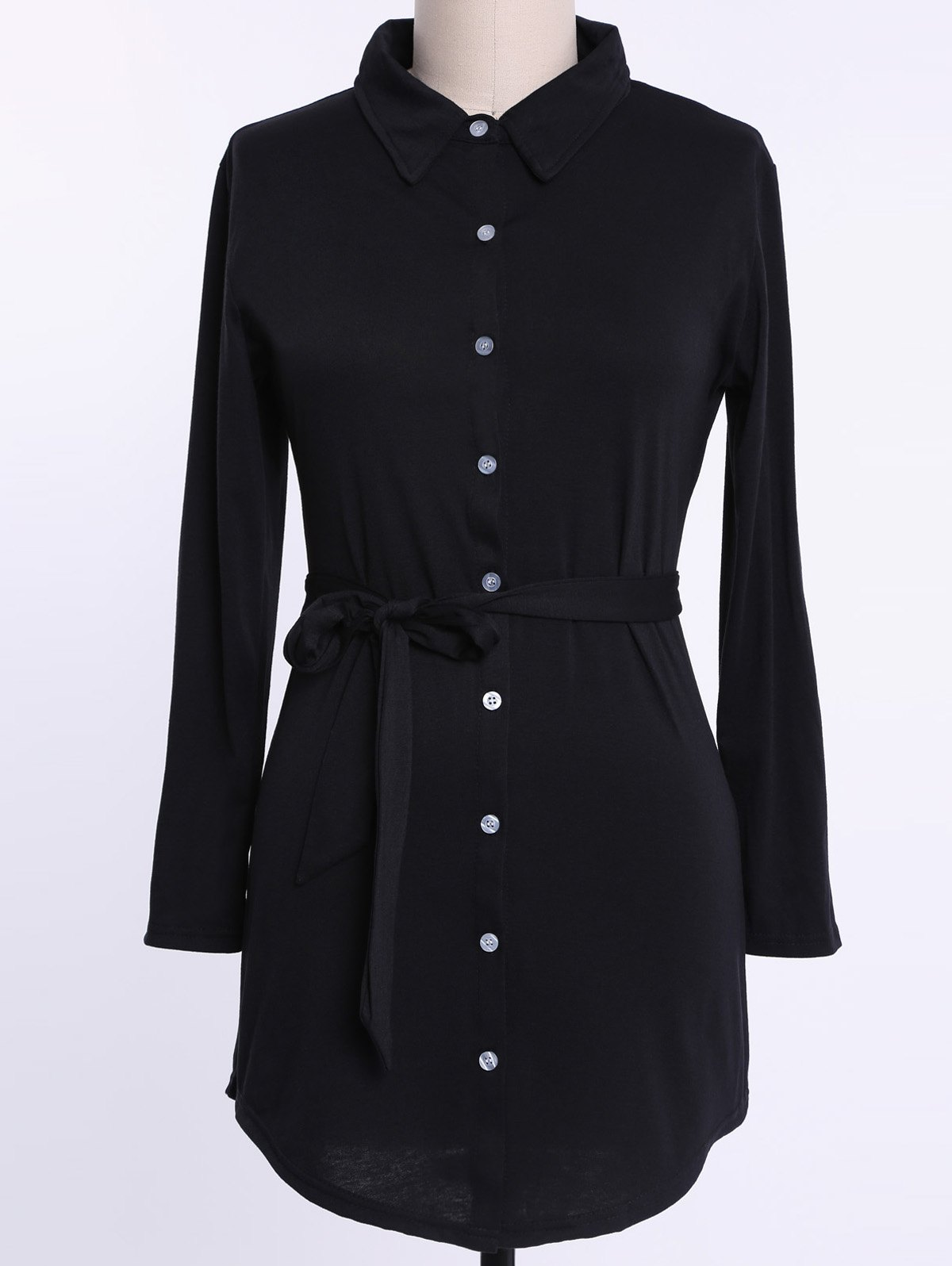 Charming Black Shirt Collar Long Sleeve Pleated Plus Size Dress For Women