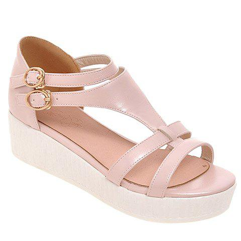 Casual Solid Color and T-Strap Design Women's Sandals - SHALLOW PINK 36