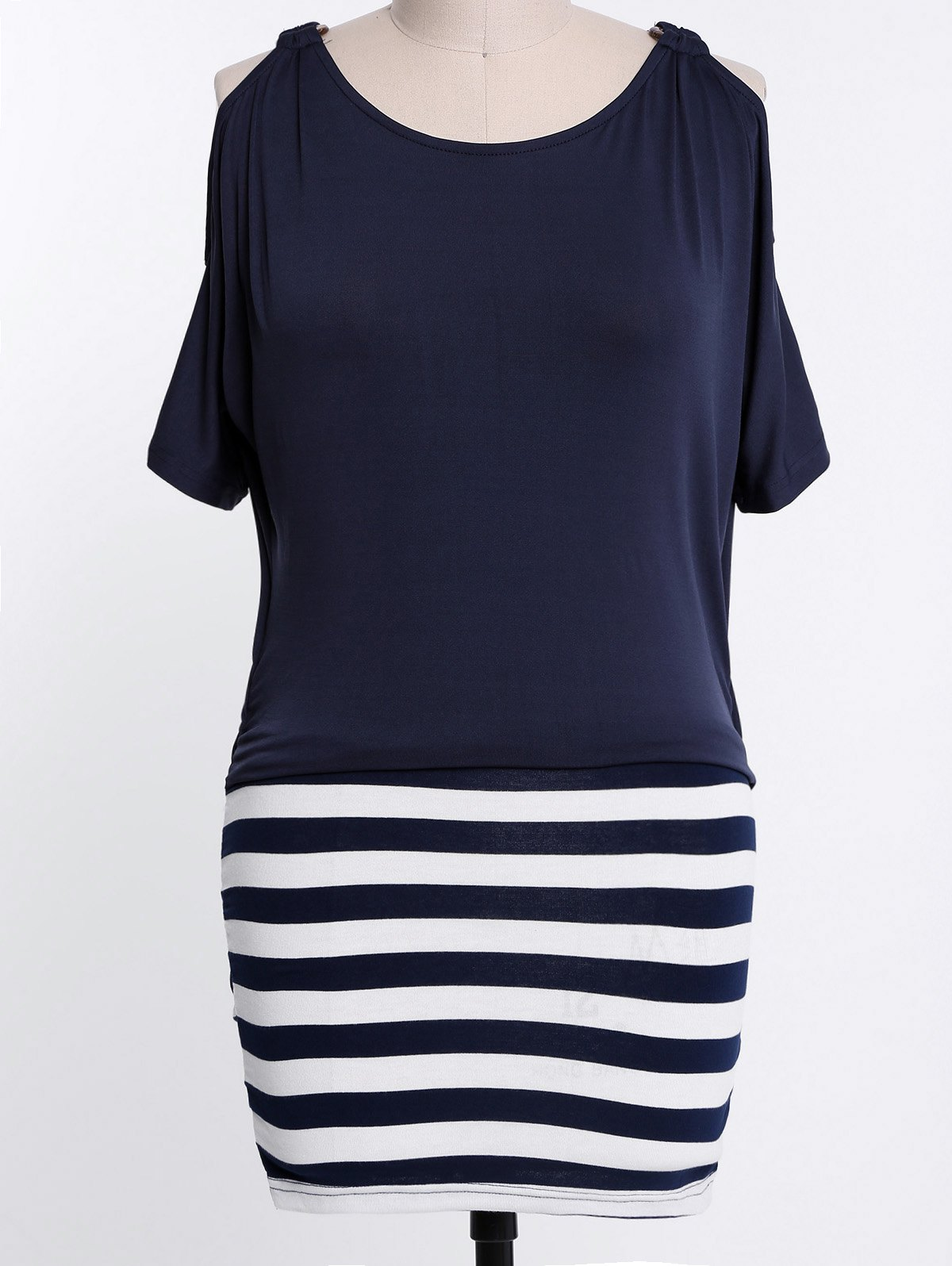 Stylish Scoop Collar Short Sleeve Striped Spliced Plus Size Women's Dress - PURPLISH BLUE 2XL