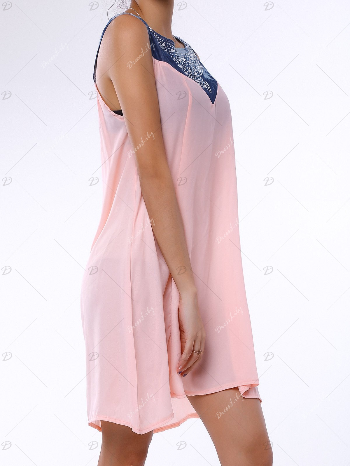 Fashionable Sleeveless Rhinestone Embellished Denim Splicing Dress For Women - LIGHT PINK L