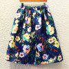 Trendy Women's High Rise Floral Print A-Line Skirt - BLUE ONE SIZE(FIT SIZE XS TO M)