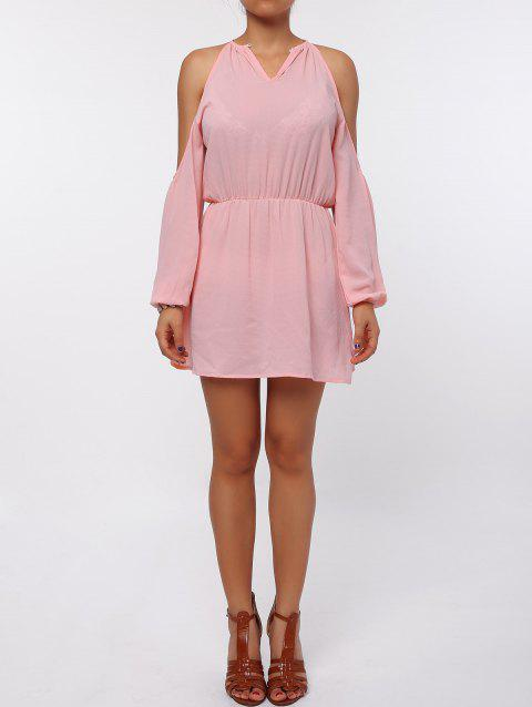 Stylish Round Collar Long Sleeve Cut Out Pure Color Chiffon Women's Dress - PINK S