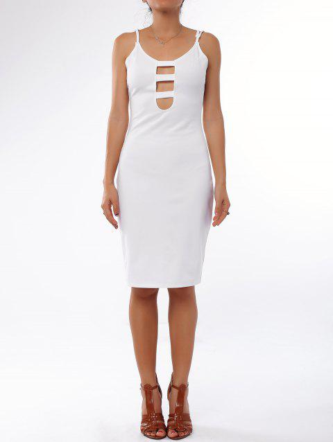 Charming White Low Cut Spaghetti Strap Hollow Out Bodycon Dress For Women - WHITE S