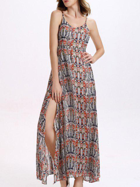 Trendy Spaghetti Strap Furcal Printed Dress For Women - COLORMIX 2XL